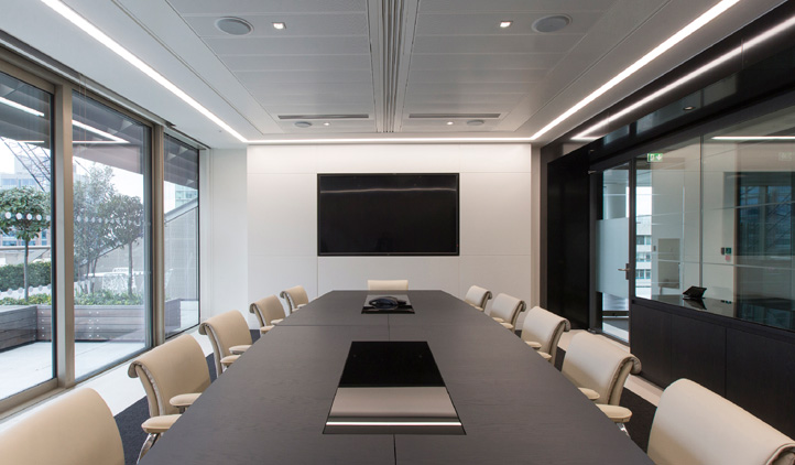 Monochromatic office interiors fit out in London - boardroom